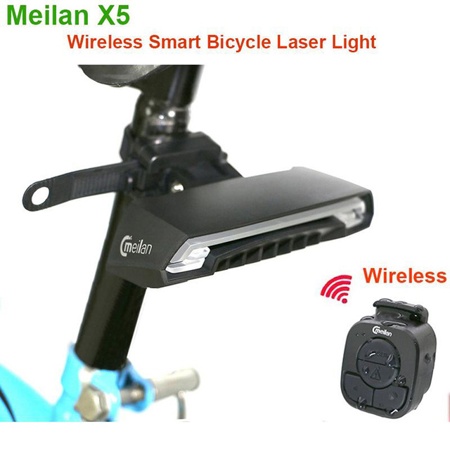 Smart Bicycle Light Wireless Bike Rear laser Accessories light USB Recharge Cycling tail waterproof Remote Turn led meilan X5