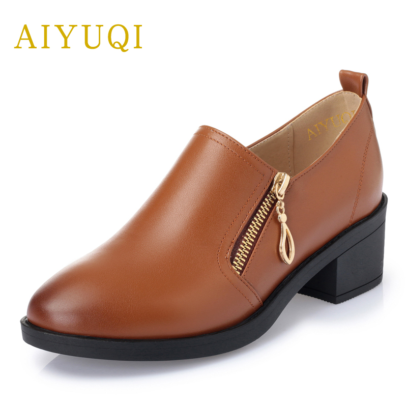 AIYUQI 2018 new 100% genuine leather women shoes, big size 41#42#43# low heel pumps trend ladies shoes, women dress shoes aiyuqi 2018 spring new genuine leather women shoes plus size 41 42 43 comfortable round head fashion handmade ladies shoes