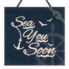 Meijiafei Sea You Soon Nautical Seaside Message Shabby Chic Coastal Hanging Plaque Bathroom Beach Toilet Signs