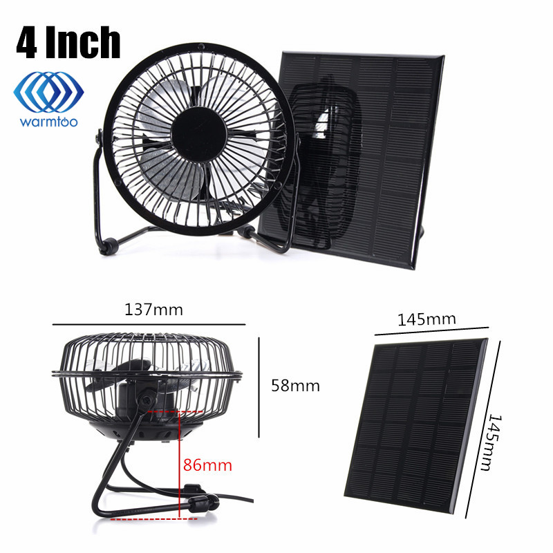High Quality 4 Inch Cooling Ventilation Fan USB Solar Powered Panel Iron Fan For Home Office Outdoor Traveling Fishing usb powered 4 blade cooling fan white