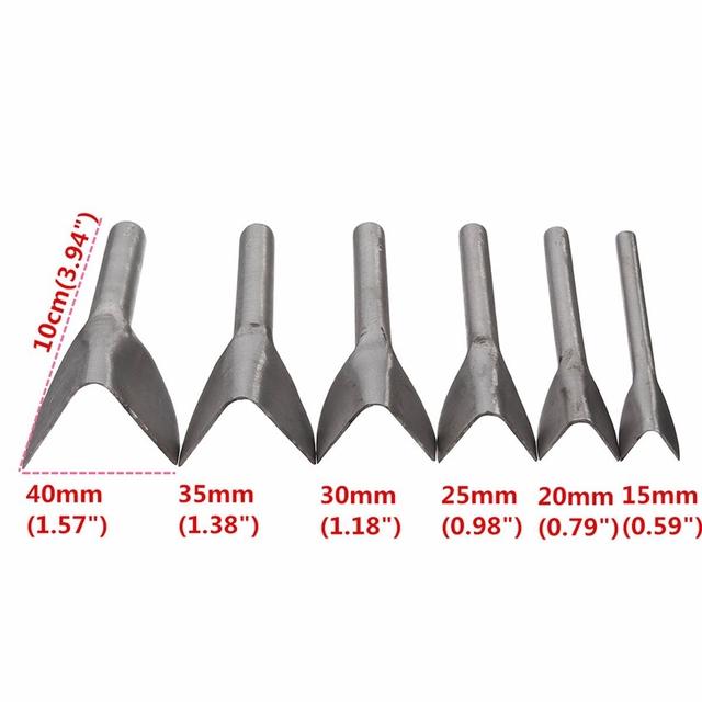 New Leather Craft Tools Half Round V Shaped Cutter Punch Leather Handmade Craft Tools Punching Hand Tools 6Pcs/set 15mm-40mm