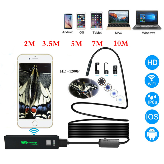 8mm Wifi Endoscope Android/IOS/PC Borescope Waterproof