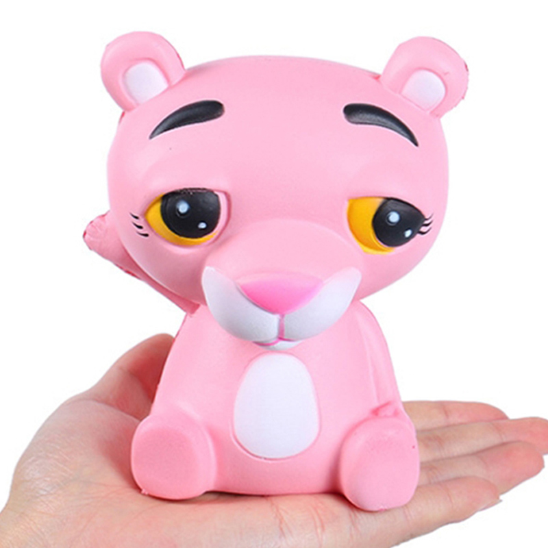 Jumbo Kawaii Pink Leopard Squishy Cartoon Doll Squeeze Toy Slow Rising Bread Scented Stress Relief Funny For Kid Xmas Gift Toy