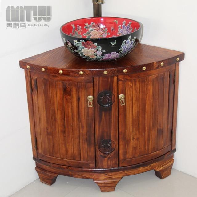 Mtw pino mueble de baño de madera chino neoclásico mueble lavabo ...