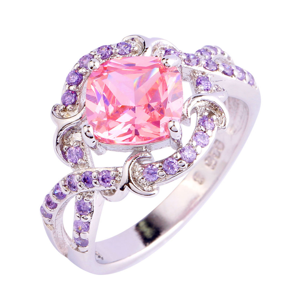 Aliexpress.com : Buy Exquisite Pink CZ Purple Silver Color Ring ...