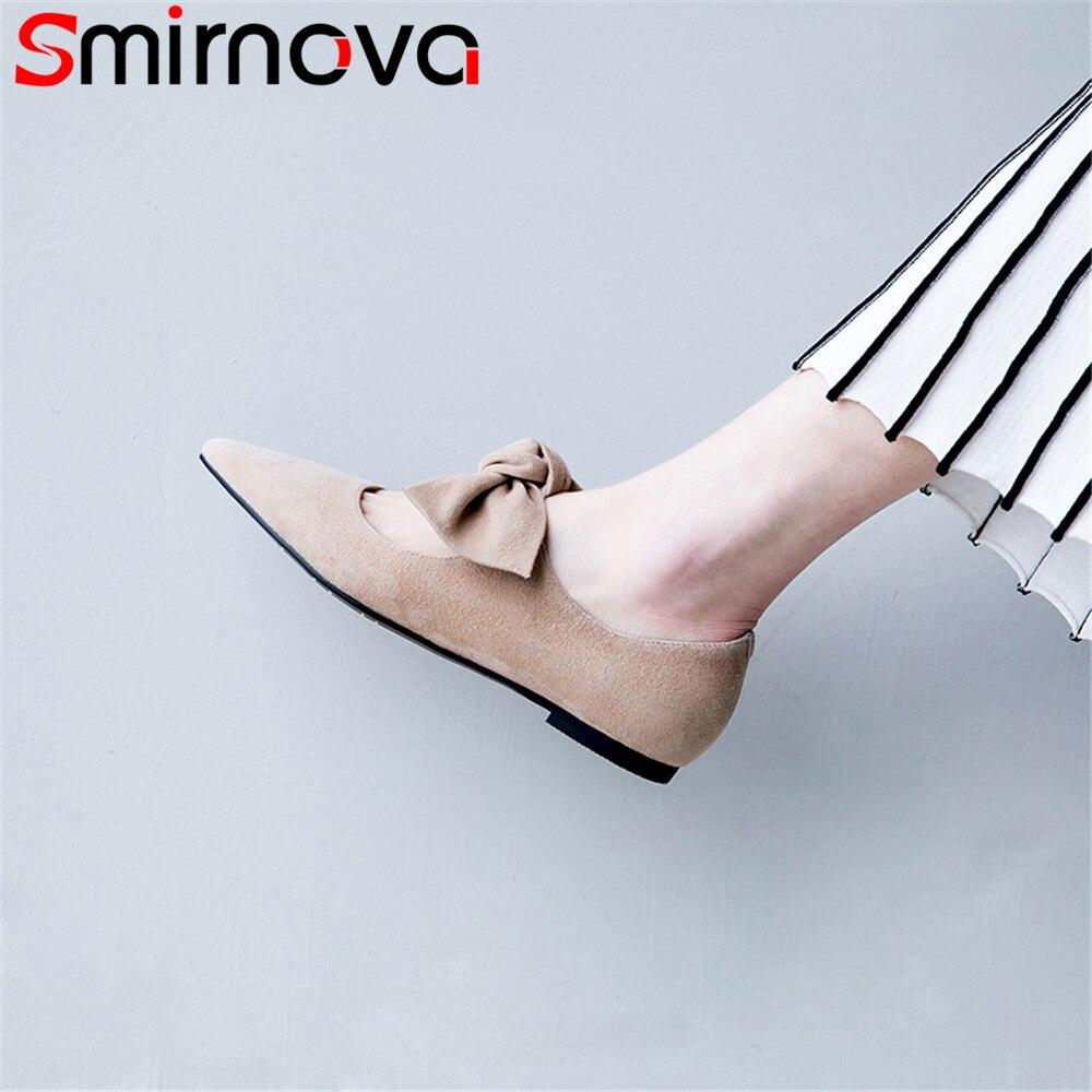 Bowknot Appartements noir Cuir Plat Casual En Bout Suédé Apricot Automne Femme Blackl Mode Smirnova Femmes Confortable Chaussures Printemps Pointu NmOvnw80