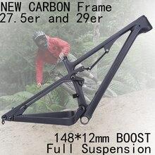 Ücretsiz kargo 2019 27.5er 29er tüm dağ Enduro karbon tam süspansiyon çerçeve bisiklet 148*12mm Boost MTB dağ XC bisiklet 27.5 +