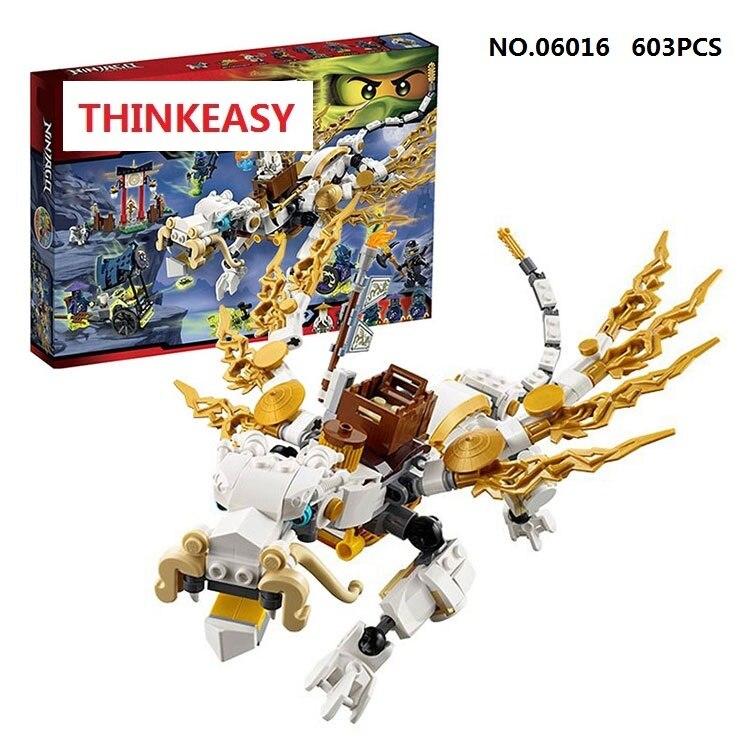 ФОТО Lepin 06016 Compatible  Ninjagoes Minis figures White Dragon 70734 Building Bricks Ninja Figure Toys For Children
