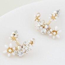 Kittenup New Fashion Korean Gold Color Crystal Stud Earrings Bijoux Women Flower boucle d'oreille Fashion Jewelry Femme