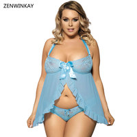 Porn Women Hot Costumes Porno Sex Lingerie Lace Babydoll Dress Porn Women Hot Costumes Plus Size with Thong M XL 3XL 5XL