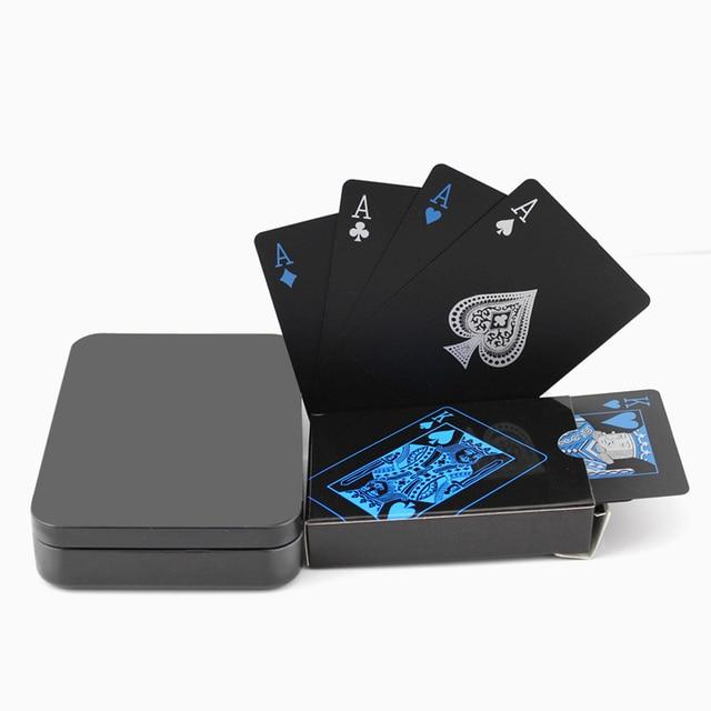 Juego de cartas creativas a prueba de agua colección de póquer negro diamante Tarjeta de póker regalo caliente cartas de juego de fiesta estándar con caja