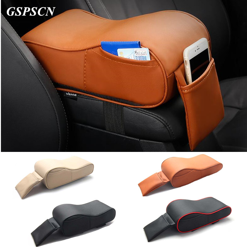 GSPSCN Universal Car Armrest Box <font><b>Mats</b></font> Memory Cotton PU Leather Auto Armrests Covers Pad with Cards <font><b>Phone</b></font> Pockets For VW/BMW/Fox