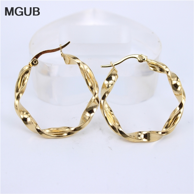 Mgub 30mm Diameter 4mm Thick Hollow Lightweight Gold Silver Color Stainless Steel Earring Por Accessories