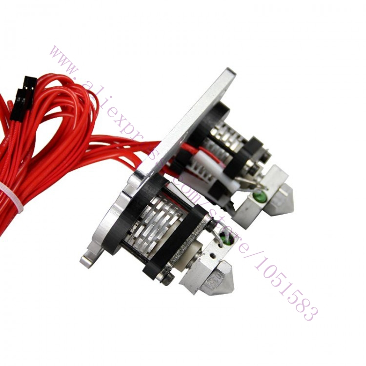 Double Extrusion Head Hot End Extruder V2.0 for 3mm filament 3D Reprap Prusa Mendel MakerBot, optional Nozzle: 0.3 , 0.4 ,0.5mm heacent mk8 0 3mm nozzle 1 75mm filament extruder for makerbot reprap mendel i3 diy 3d printer
