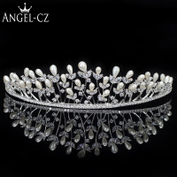 ANGELCZ Luxury Wedding Hair Accessories Waterdrop Pearl Princess Pagean Tiara Crown With Zircon Bridal Headband For Bride AH001