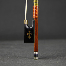 Professional Pernambuco Violin Bow Natural White Horse-hair White Copper Parts Ox Horn Carved Ebony Frog with Warn Tone Size 4/4 italline ox 13b white