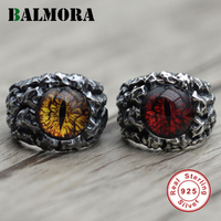 BALMORA 1 Pair 925 Sterling Silver Cracked Eyes Domineering Open Rings for Men Gift Party Punk Vintage Jewelry Anillos JWR3045