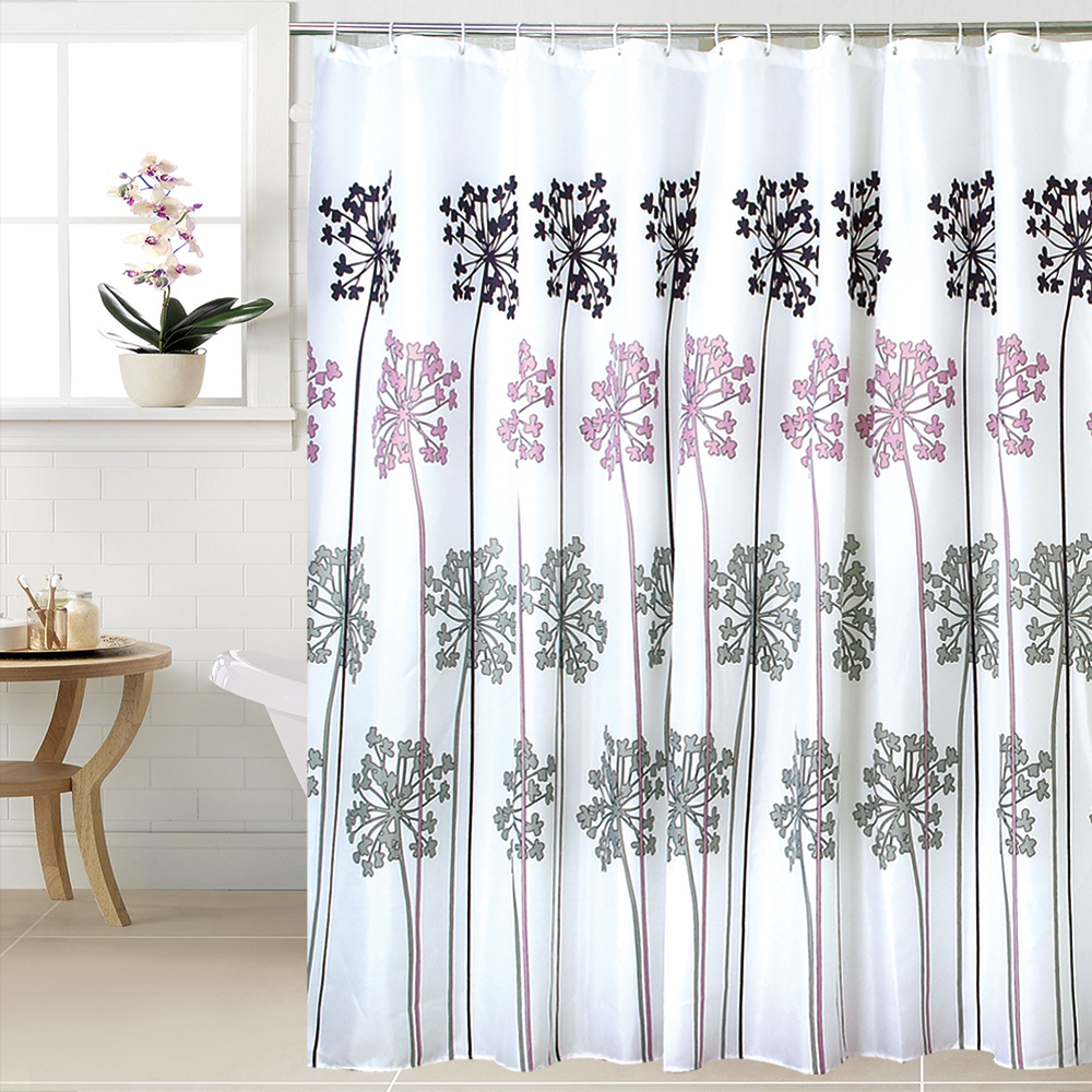 Fabric Polyester WIDEN Waterproof Thicken Shower Curtains Bathroom Curtains, 240cm (width) X180cm (height) with 16pcs C Rings.