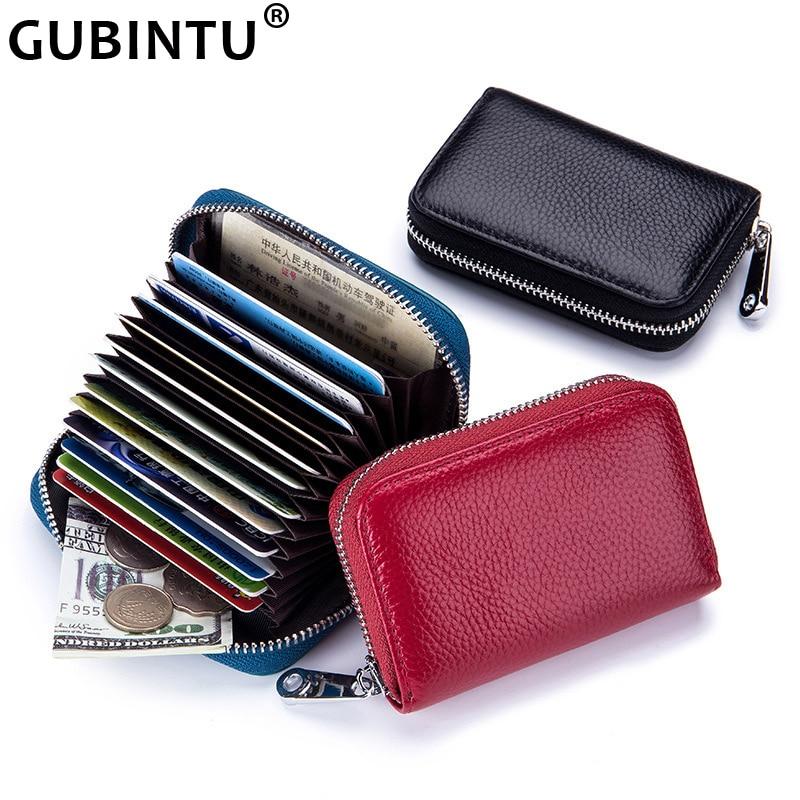 GUBINTU Made of Genuine Leather Card Holder Wallet Men Women Real CardHolders New Zipper Credit By 12 Slots