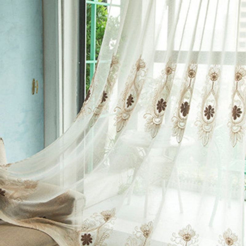 European Simple Tulle Curtain Screens Living Room Bedroom Cotton Embroidered Curtain Fabric Multi Size