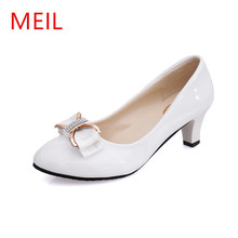 MEIL Woman high heel pumps office nude shoes 2018 Pointed Toe Patent Leather red white women wedding ladies shoes bride heels