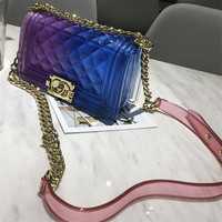gradually changing color Plaid Jelly Bag Gradient Candy Color Crossbody Bags Designed Ladies Shoulder Chain Messenger Bag