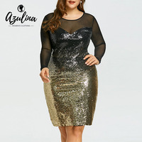 AZULINA Plus Size Mesh Insert Sequins Women Dress Sexy Club Party Dress Elegant Long Sleeves Bodycon