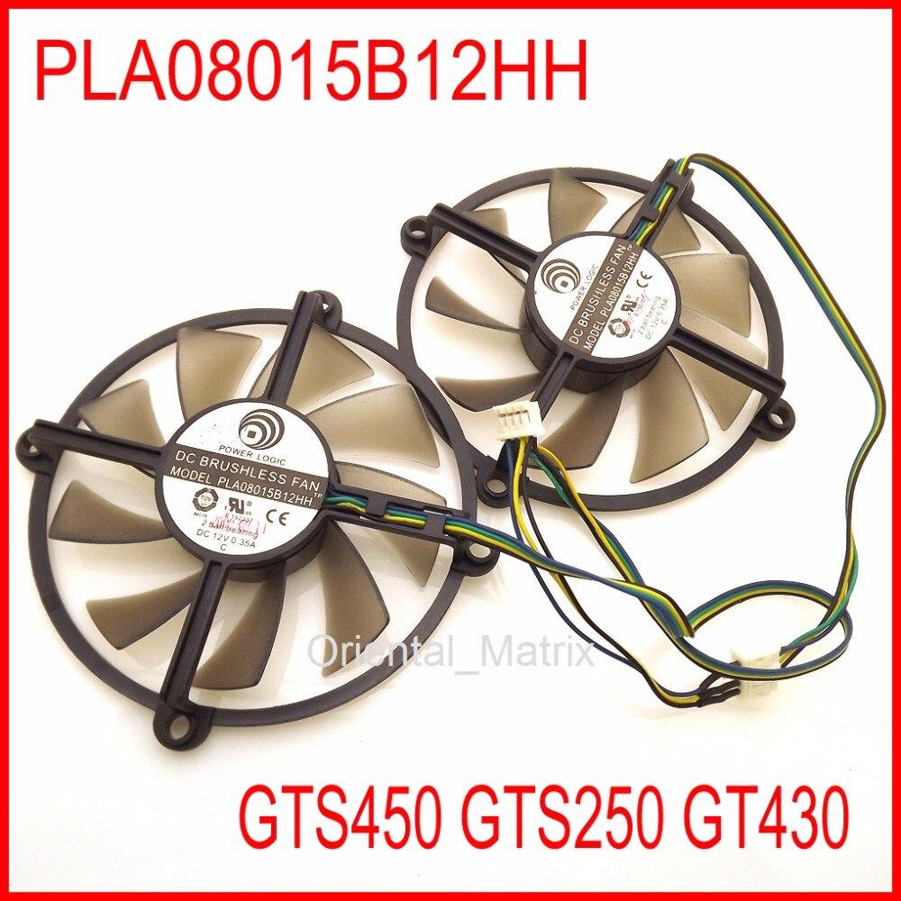 2pcs/lot POWER LOGIC PLA08015B12HH DC BRUSHLESS FAN 12V 0.35A 85mm GTS450 GTS250 GT430 Graphics Card Cooling Fan 4Wire 4Pin