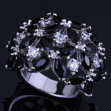 Good-Looking Black Cubic Zirconia White CZ 925 Sterling Silver Ring For Women V0497