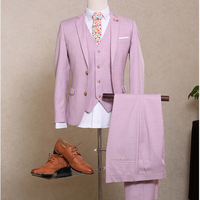 NA06 2018 New Pink Mans Suit Wool Smoking Casamento Customized Formal Grooms Wedding Suit (Coat+Pants+Vest) NA06 Mens Slim Suits