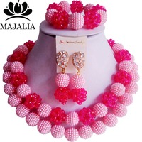 Fashion african jewelry set Pink Plastic Nigeria Wedding african beads jewelry set Free shipping Majalia 205