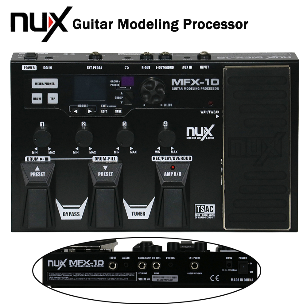 NUX MFX-10 Modeling Guitar Processor Guitar Effect Pedal Drum Recorder 55 Effect 72 Preset Multi-function nux mg 20 electric guitar multi effects pedal guitarra modeling processor with drum machine eu plug