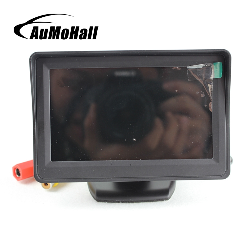 AuMoHall 4.3 LCD Car Rear View Camera Monitor 2 DVD Video Input Car Monitor for Parking Sensor Car Video Players Display
