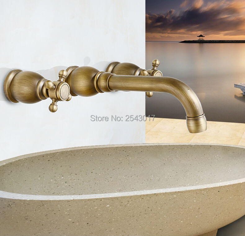 Newly Antique Basin Faucet 3 pcs Wall Mounted Double Handle Solid Brass Elegant Vanity Sink Taps ZR858
