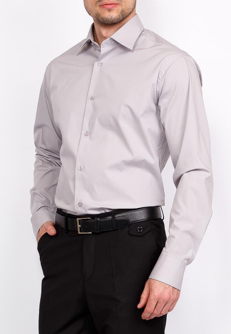 Shirt men's long sleeve GREG 320/319/GR/Z Gray 3d bird and flower printed plain fly shirt collar long sleeves shirt for men