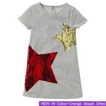 цены 2019 New Brand Summer Girls Dresses Change Sequin Girl Clothing Princess Dress Children Costume 100% Cotton Kids Clothes