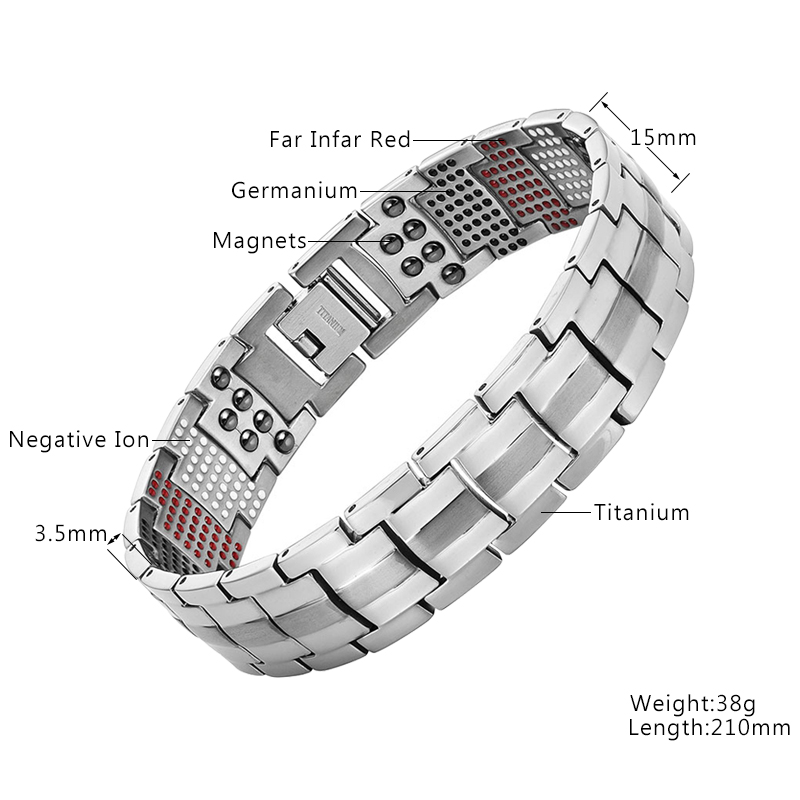 Image 2 - Vivari Men's Health Magnetic Bracelet For Men Silver Plated Pure Titanium Bangle Magnetic Ion Germanium Far Infar Red Bracelets-in Chain & Link Bracelets from Jewelry & Accessories