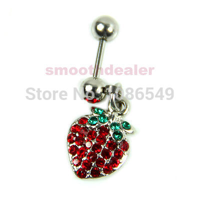 1PC Fruit Style Red Crystal Cartilage Stud Earrings Stainless Steel Piercing New
