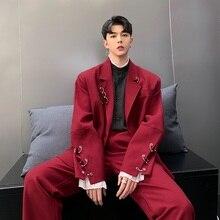 2019 New Men Streetwear Hip Hop Iron Ring Casual Blazer Jacket Male Vintage Fashion Suit Coat Spring Autumn Overcoat