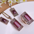 Blucome Vintage Jewelry Sets Antique Gold Plated Square Red Pendant Necklace Earring Ring Set Princess Hooks Earrings Wide Rings