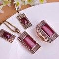Blucome vintage sistemas de la joyería de oro antiguo plateado plaza roja colgante anillo del pendiente del collar set princesa ganchos pendientes anillos anchos