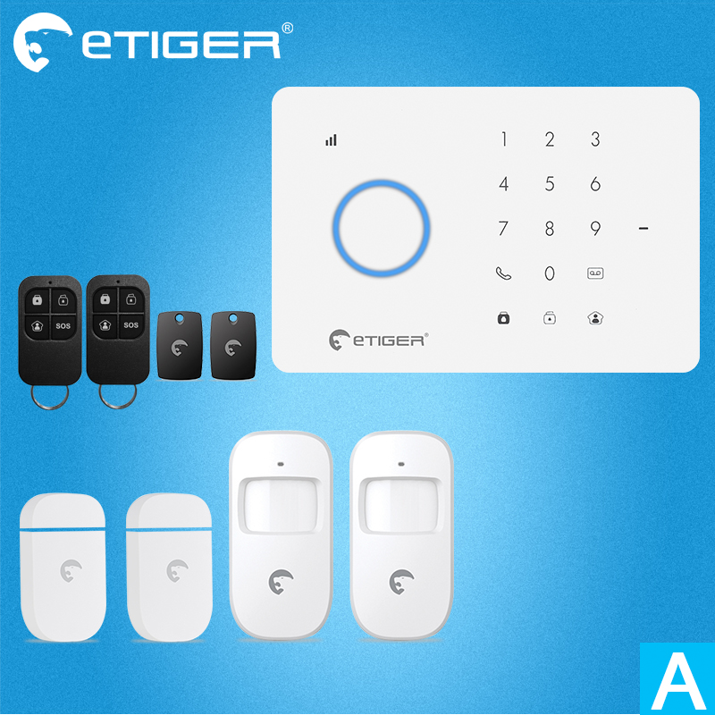 New Design Etiger S3B GSM/SMS Alarm System Intruder Burglar System with Wired Zone for Home Office Factory as same as Chuango G5 цена и фото