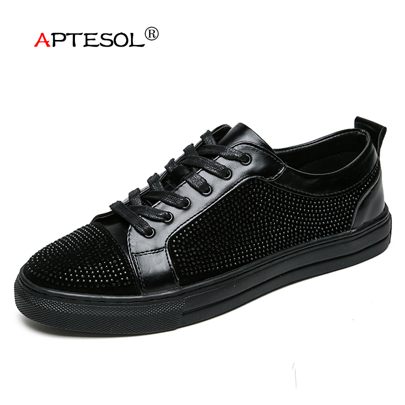 APTESOL Fashion Men's Vulcanize Shoes Microfiber Flat Shoes Light Weight Breathable Black Gentleman Loafers Daily Sneaker Summer