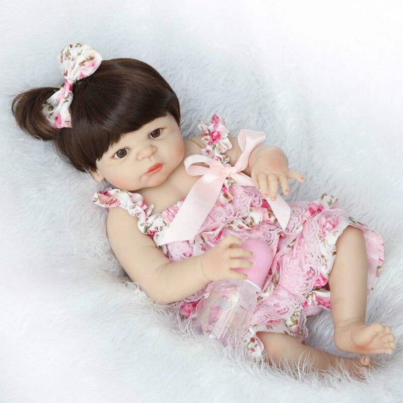 NPK brand girl doll reborn 22 Full silicone vinyl body children play house toys bebe gift boneca reborn toys for girls full house