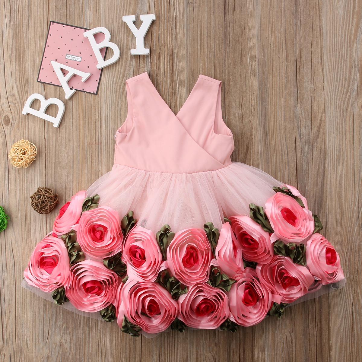 Girls Floral Romper Rose Clothes Baby Clothes Roses Roses Baby Clothes 2019 Girl Baby Clothes Rose Baby Newborn Tutu Newborn Infant Baby Girls 3D Rose Romper Back