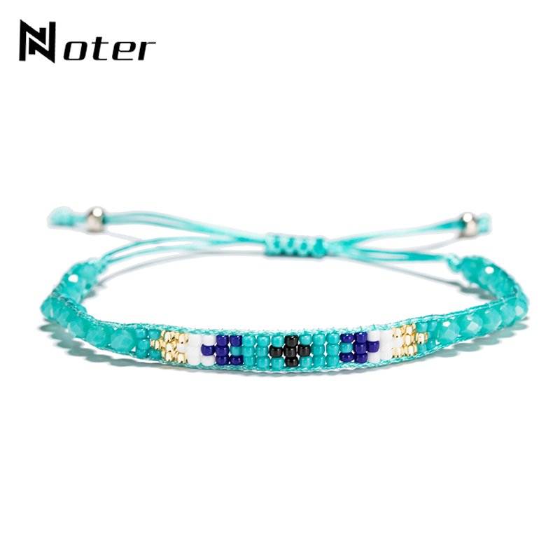 Noter Small Acrylic Beads Handmade Bracelet Charms Ethnic String Rope Braslet For Women Men Adjustable Jewelry Erkek Bileklik