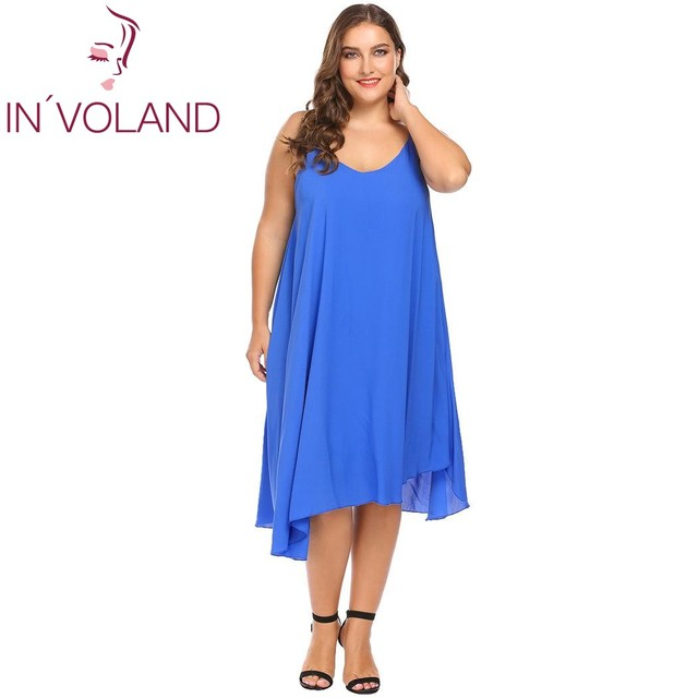 IN VOLAND Plus Size XL-5XL Women Basic Dress Sexy Spaghetti Strap Solid  Tank Casual Loose Fit Tunic Large Dresses Big Size a6cfb0dd74d3