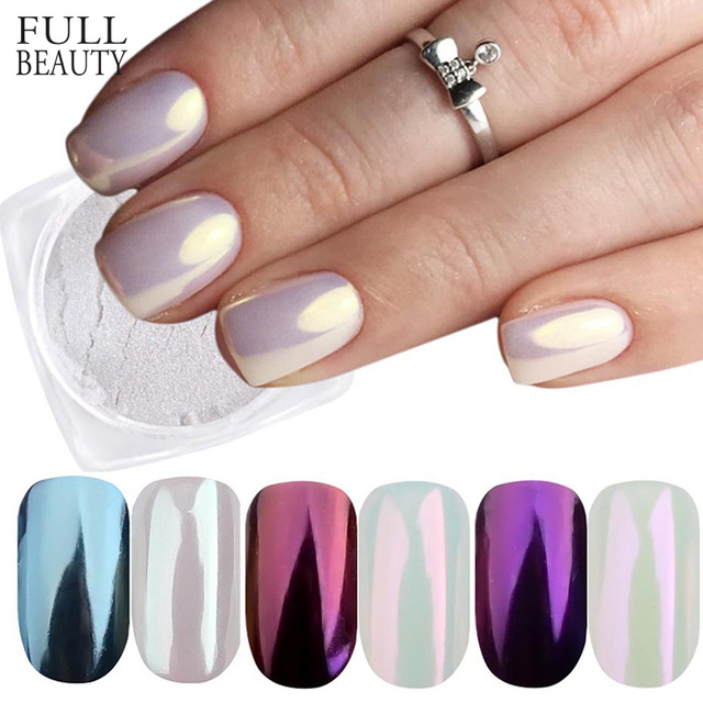 Full Beauty 3 Boxes Mirror Powder Set Nail Art Chrome Pigment Dust Shell DIY Glitter Manicure Blue Purple Decor Tips CHB01/03/04