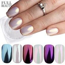 Volle Schönheit 3 Boxen Spiegel Pulver Set Nail art Chrome Pigment Staub Shell DIY Glitter Maniküre Blau Lila Decor Tipps CHB01/03/04