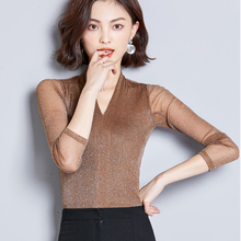 shintimes Silm Womens Tops And Blouses 2019 V-Neck Summer Women Shirt Long Sleeve Blouse Casual Woman Clothes Chemisier Femme цена